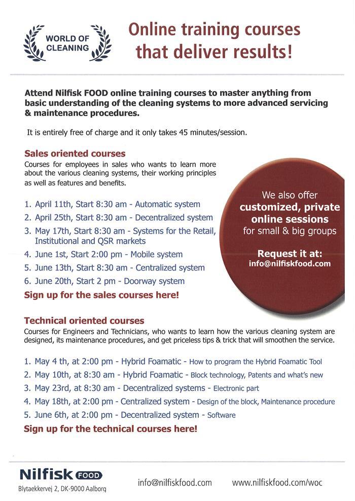 Nilfisk Food WoC News block NEWS New Online Training Courses
